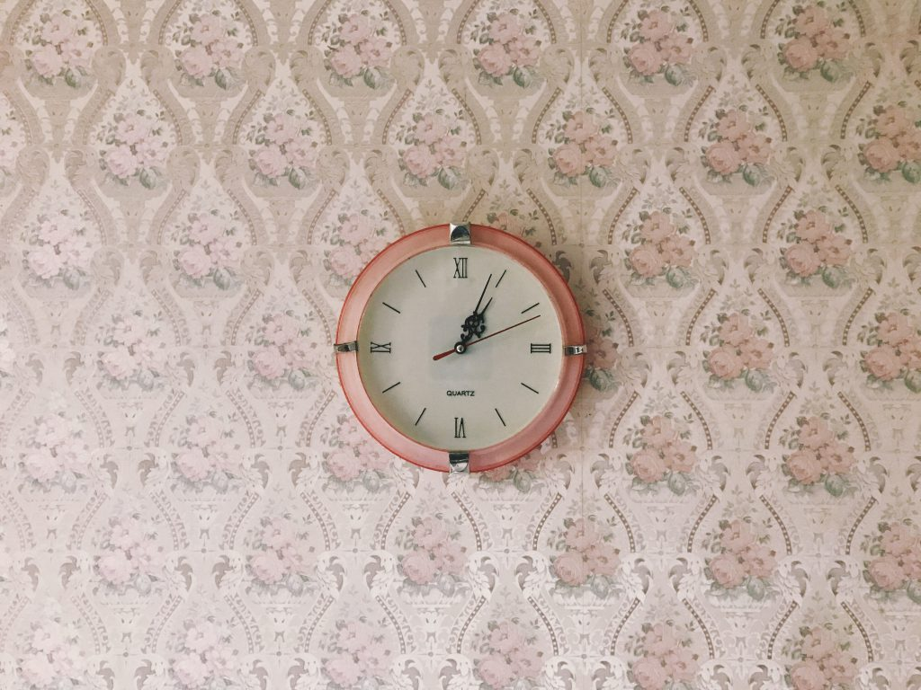 pink clock on the wall
